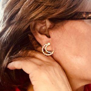 Faux and Crystal moon piercing Earrings